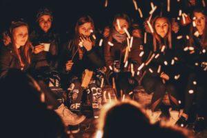 children enjoying campfire on school trips