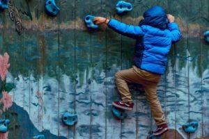 boy climbing on a primary school trip