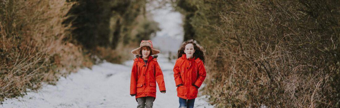 children on winter walk